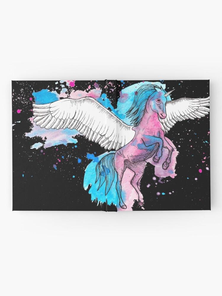 Alternate view of Watercolour Unicorn 2 on Black Hardcover Journal