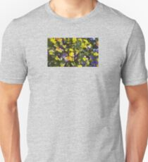 Spring Purple Yellow Orange Johnny Jump Ups Garden Tiny Lion Pansies Floral Fun Unisex T-Shirt
