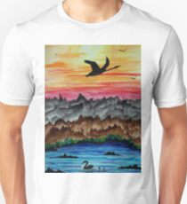 Black swans at sunset Unisex T-Shirt