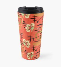 Orange, Gold & Black Mid Century Modern Houseplants Travel Mug