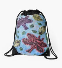Dragonflies in Flight Drawstring Bag