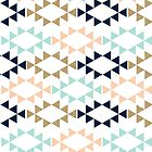Aztec Pattern in navy, turquoise, blush modern colors by charlottewinter