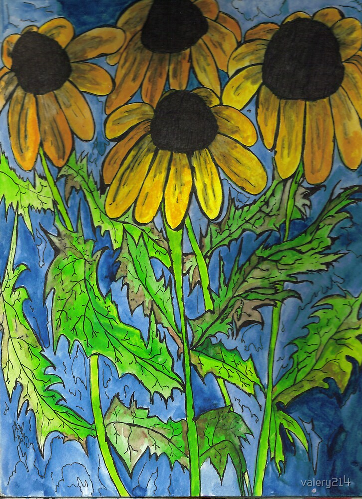 Sunflowers Waiting for Butterflies by valery214