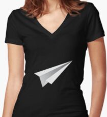 Paper Airplane Women's Fitted V-Neck T-Shirt