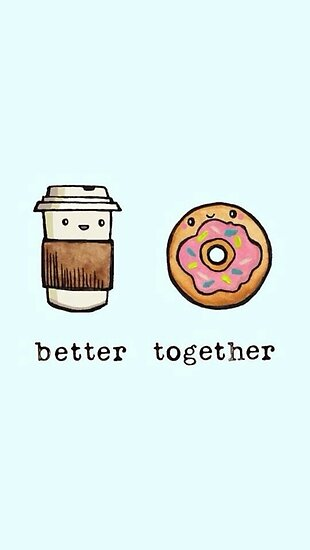 kawaii better together coffee donut posters by arealprincess