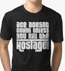 Hostage Ace #2 - White Gritty Tri-blend T-Shirt