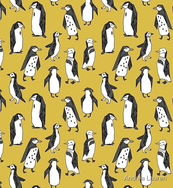 Penguins - Mustard by Andrea Lauren by Andrea Lauren