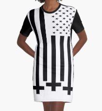Anti-Christ American Flag Alternative Modern Design Graphic T-Shirt Dress
