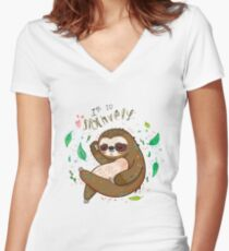 I am so slothvely Women's Fitted V-Neck T-Shirt