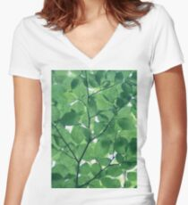 Greenery leaves Women's Fitted V-Neck T-Shirt