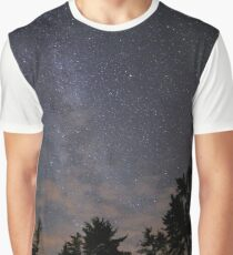 Starry Night From Planet Earth Milkyway Forrest  Graphic T-Shirt