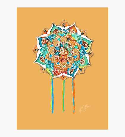 Sunshine Yellow Mandala Photographic Print