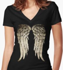 Daryl Dixon's Zombie Wings Women's Fitted V-Neck T-Shirt
