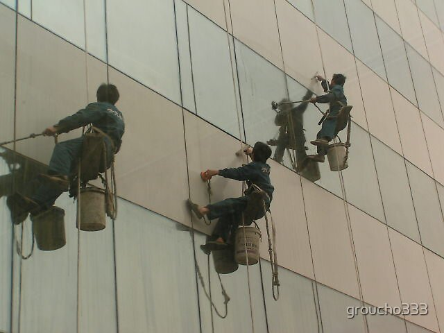 Shanghai Window Washers #1 by groucho333