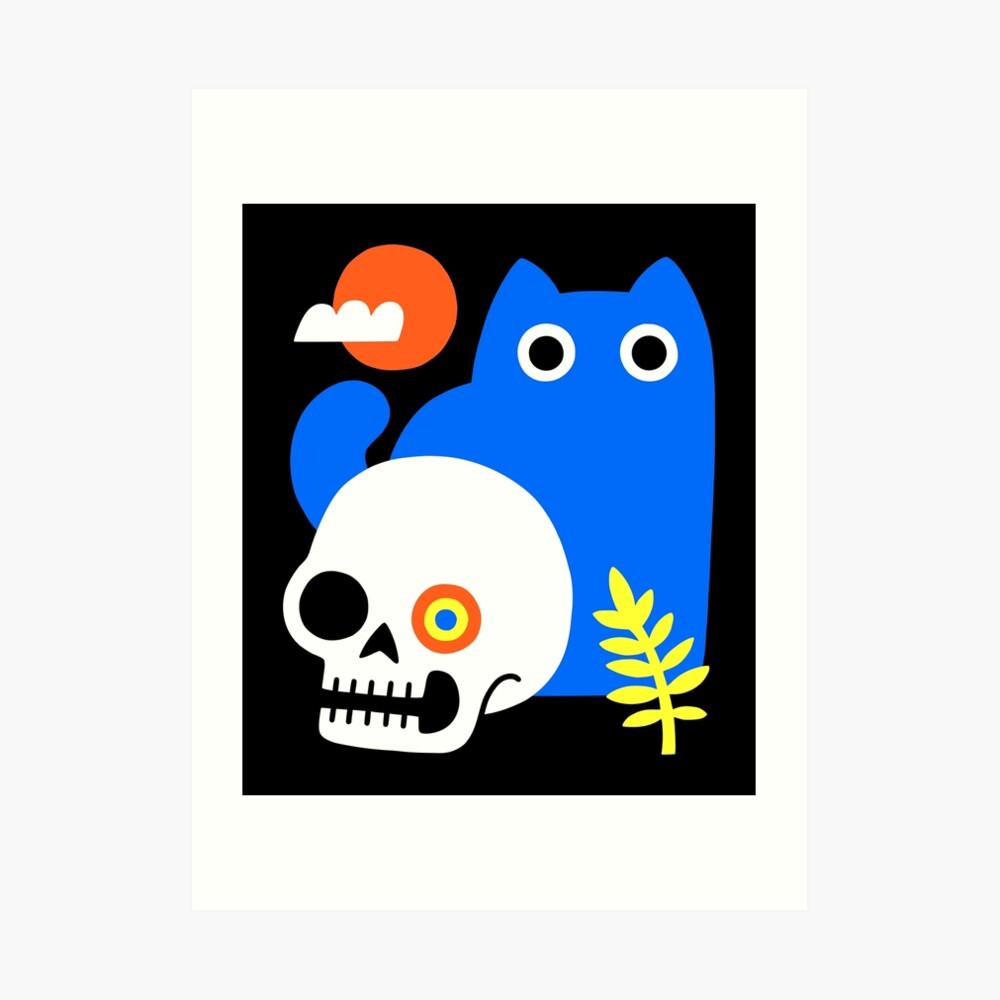 Little Blue Cat Art Print
