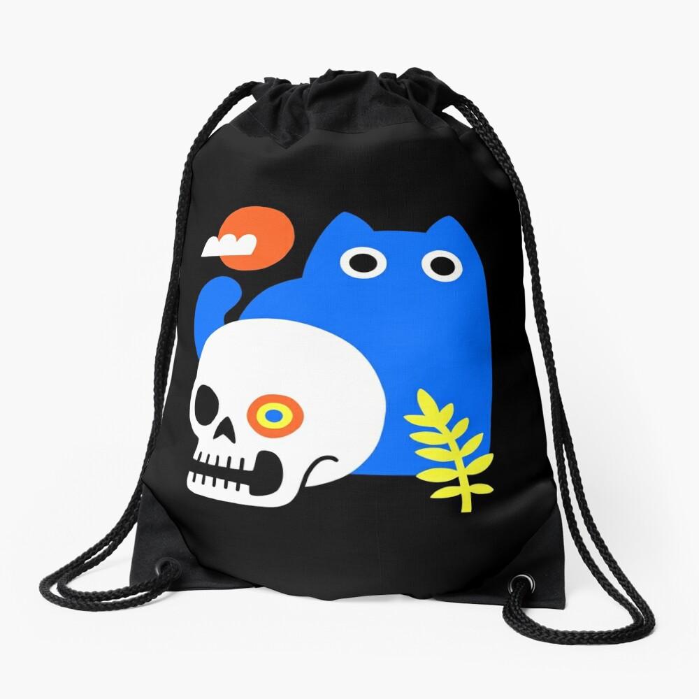 Little Blue Cat Drawstring Bag