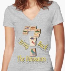 Bring Back The Dinosaurs Women's Fitted V-Neck T-Shirt