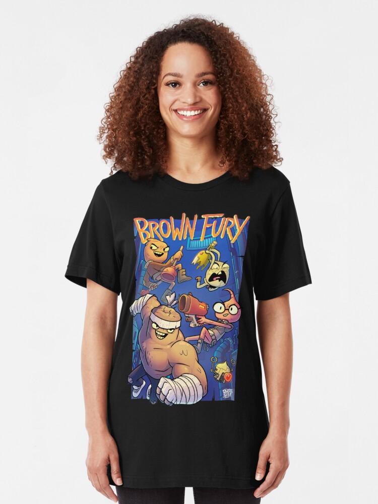 Alternate view of Brown Fury - Attack! Slim Fit T-Shirt