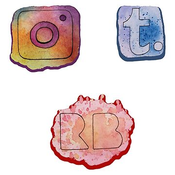 Watercolor Social Media Icon Sticker Pack by ColaChu