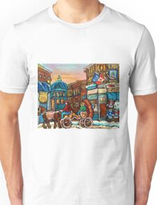 PAINTINGS OF CANADIAN WINTER CITY SCENES OLD MONTREAL BY CANADIAN ARTIST CAROLE SPANDAU Unisex T-Shirt