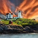 Cape Neddick Nubble Lighthouse by Lois  Bryan