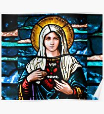 Stain Glass Mary Poster