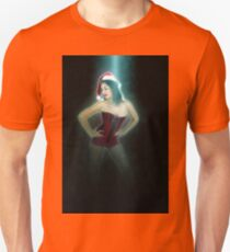 Young sexy woman in a red corset wearing Santa hat  Unisex T-Shirt