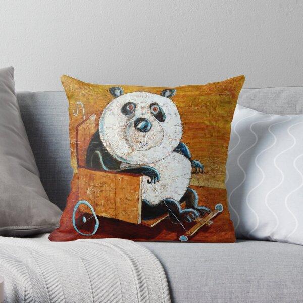 Panda go-cart Throw Pillow