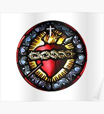 Stain Glass Sacred Heart 2 Poster