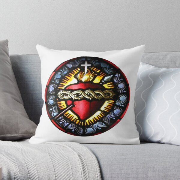 Stain Glass Sacred Heart 2 Throw Pillow