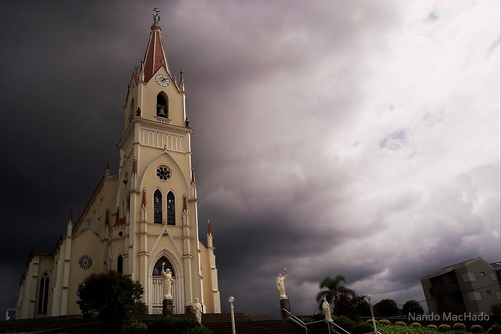 Church and Storm Clouds by Fernando Machado