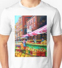 OUTDOOR MARKET DAY MONTREAL PAINTINGS OF CANADIAN CITIES BY CANADIAN ARTIST CAROLE SPANDAU T-Shirt