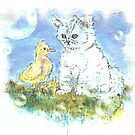 KITTEN DUCK AND BUBBLES by francelle  huffman