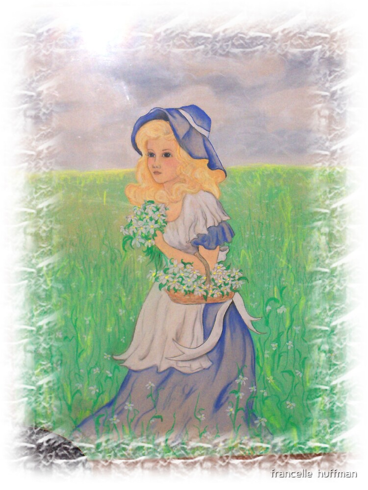 GIRL IN FIELD OF FLOWERS PASTEL by francelle  huffman