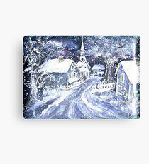 SNOWY VILLAGE CHRISTMAS SCENE Canvas Print