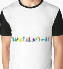 14 Princesses Inspired Silhouette Graphic T-Shirt