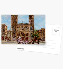 EGLISE NOTRE DAME CHURCH OLD MONTREAL ART CANADIAN PAINTING BY CAROLE SPANDAU CANADIAN ARTIST Postcards
