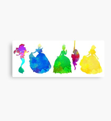 5 Princesses Inspired Silhouette Canvas Print