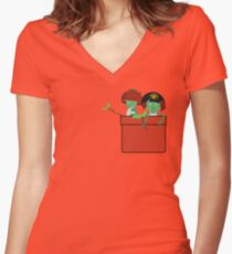 Pocket Kodama  Women's Fitted V-Neck T-Shirt