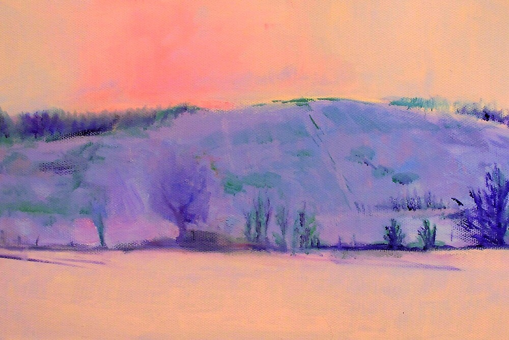 Pink and purple peace: hill landscape painting by Sue Wellington