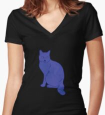 Watercolor Floral and Cat Women's Fitted V-Neck T-Shirt