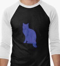 Watercolor Floral and Cat Men's Baseball ¾ T-Shirt
