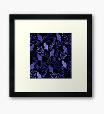 Watercolor Floral and Cat Framed Print