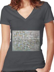 Piet Mondrian Composition No. II Women's Fitted V-Neck T-Shirt