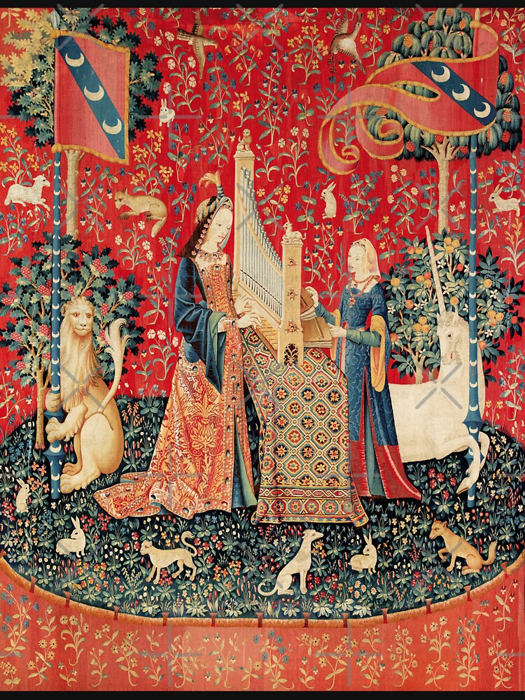 UNICORN AND LADY PLAYING ORGAN WITH ANIMALS , Hearing by BulganLumini