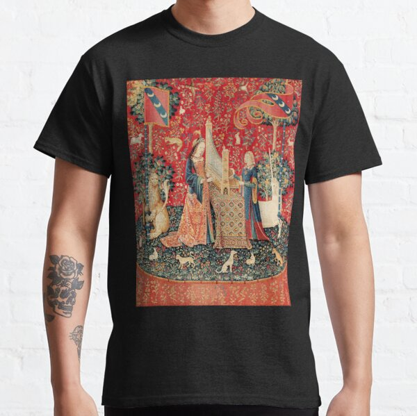 UNICORN AND LADY PLAYING ORGAN WITH ANIMALS , Hearing Classic T-Shirt