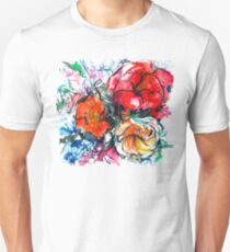 bouquet of peony, ranunculus, poppy, watercolor sketch T-Shirt