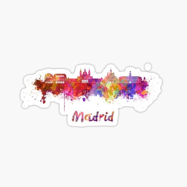Horizonte de Madrid V2 en acuarela Pegatina