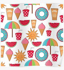 Summer Holidays colorful pattern Poster