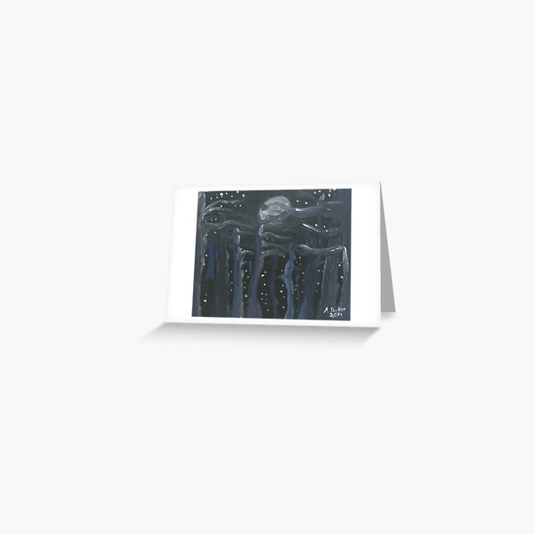 Moon Light Forest Greeting Card